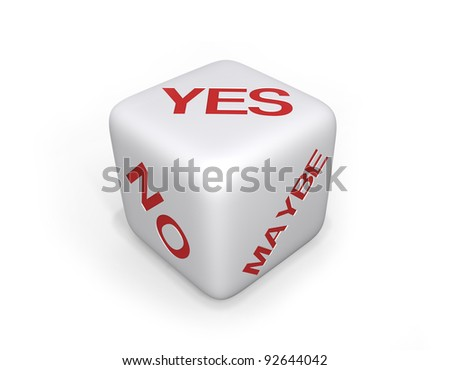 White Dice with Yes, No and Maybe in red text on a white background and a shadow. - stock photo