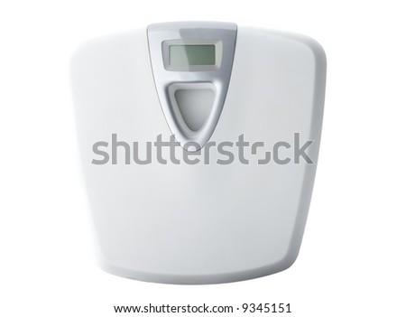 White digital bathroom scale isolated on white. - stock photo