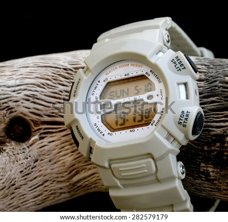 white digital watch cronograph - stock photo