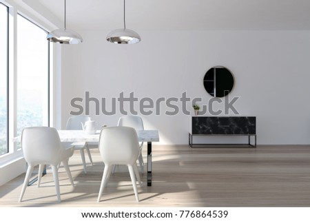 White dining room interior with a panoramic window, a wooden floor and a white table with white chairs. A chest of drawers and a round mirror. 3d rendering mock up