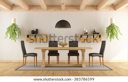White dining room with rustic table and modern chair - 3D Rendering - stock photo