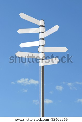 White direction sign, against blue sky with white clouds