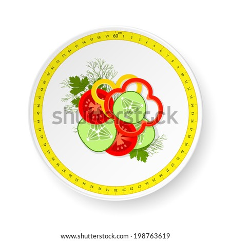 White dish with pattern from measuring tape and small dose of sliced fresh vegetables. Raster version of vector file - stock photo