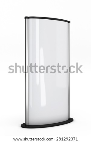 White Display Advertising Stand isolated on white background. 3d illustration. - stock photo