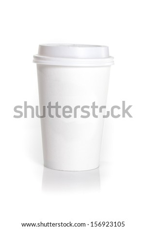 white disposable coffee mug isolated on a white background