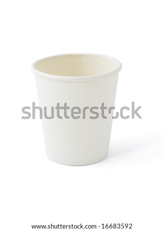 White disposable paper cup on white background
