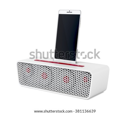 White docking station speaker and smartphone on white background