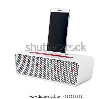 White docking station speaker and smartphone on white background - stock photo