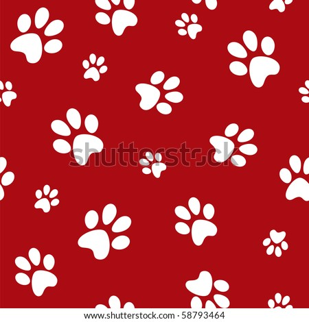 white dog footprints on red background - stock photo