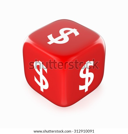 White dollar currency sign on red dice. - stock photo
