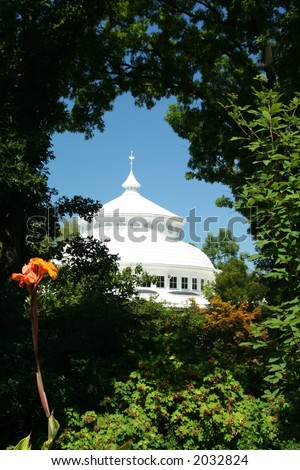 White Dome framed by foliage