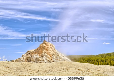 White Dome Geyser, Low Geyser Basin, Yellowstone National Park, Wyoming - stock photo