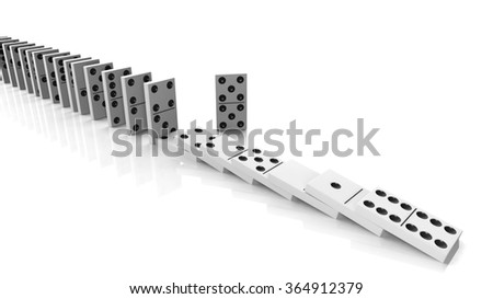 White domino tiles falling in a row with some standing, isolated on white - stock photo