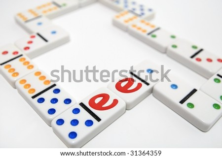 White dominoes with two e - stock photo
