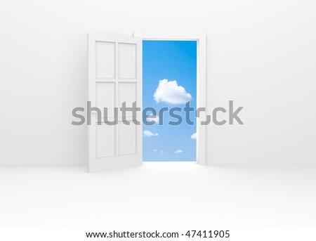 White door and blue sky. - stock photo