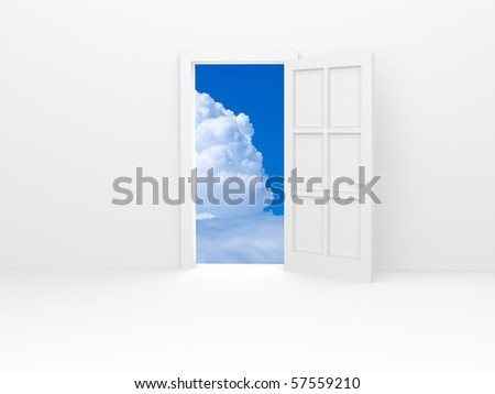 White door and white fluffy cloud on blue sky. - stock photo