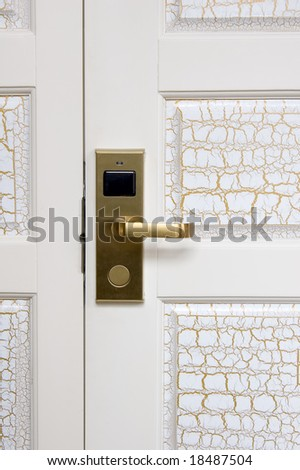 White door handle and lock with IC card sensor - stock photo