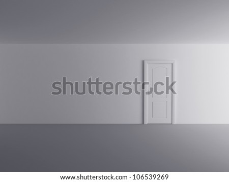white door in white room