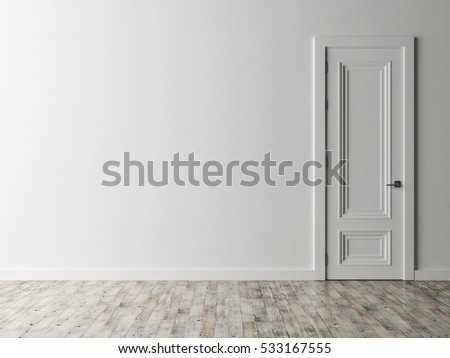 Closed White Door On Blue Wall Stock Illustration 139201277