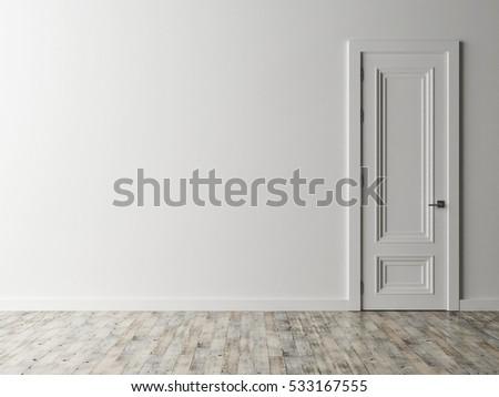 white door on white wall 3d illustration