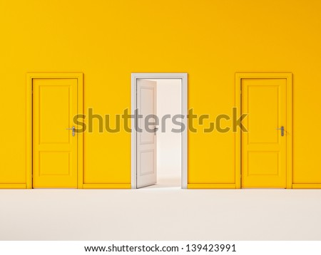 White Door on Yellow Wall, Illustration  Business Door  - stock photo