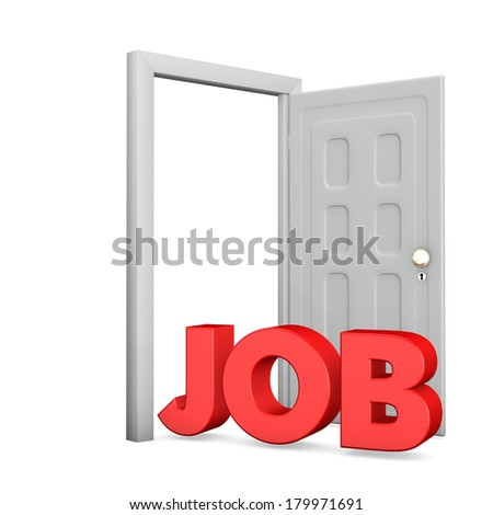 White door with red text job on the white background. - stock photo