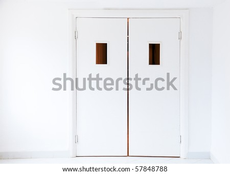 White doors in a hospital - stock photo