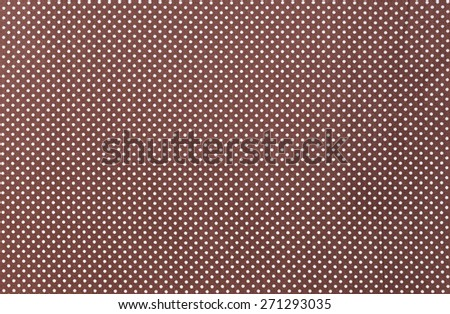 White dots over brown Polka dot fabric background and texture - stock photo