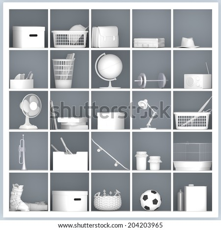 white drawers and shelves with different home related objects - stock photo
