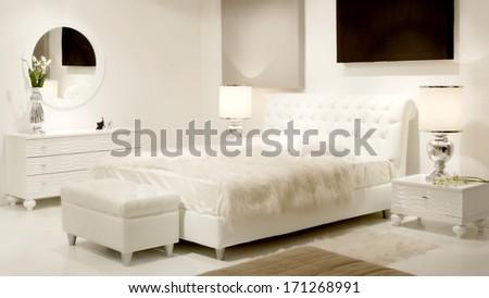 white dreamy bedroom - stock photo