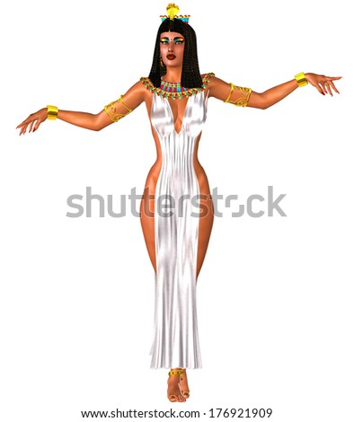 White dress, Egyptian woman and gold crown.  A dancing egyptian woman reveals her legs in this  seductive white dress as she entertains the party with her dance moves and fashion combination.  - stock photo