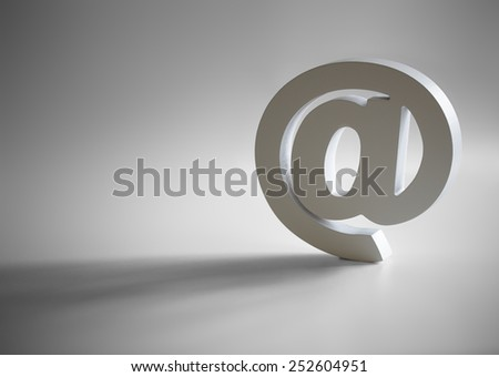 White e-mail at symbol with shadow and copy space - stock photo