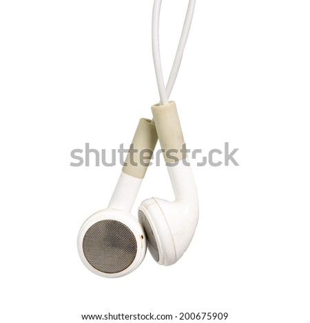 White earphone isolated on white - stock photo