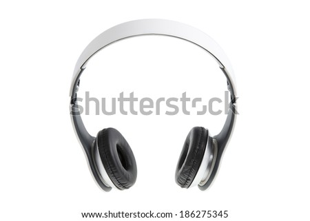 White earphones with black padding, isolated on white