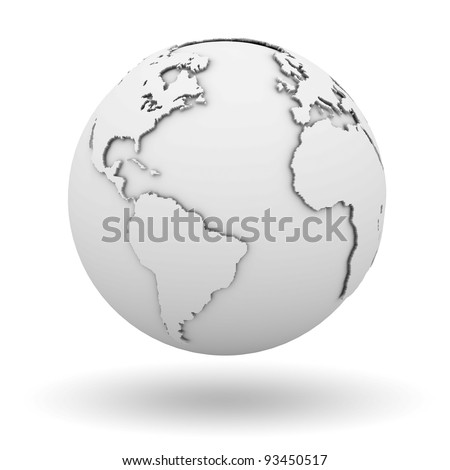 White earth globe isolated on white background with shadow - stock photo