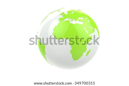 White earth globe with green continents