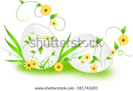 White eater eggs with green ornaments and flower