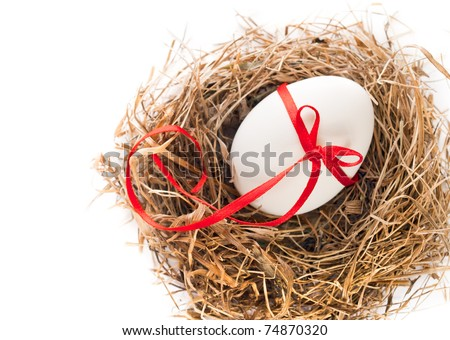White egg in a nest of grass with a ribbon