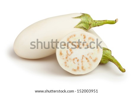 white eggplant cut on white background - stock photo