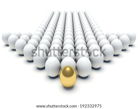 White eggs aligned forming an arrow with golden egg in the first place. 3d render illustration. - stock photo