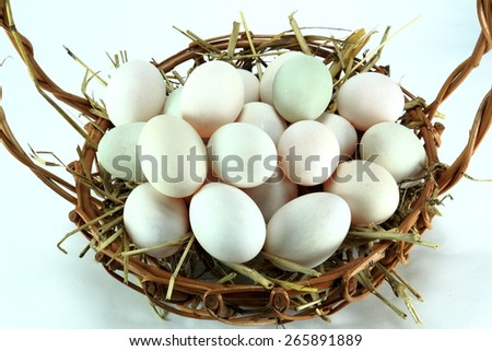 White eggs in basket isolated on white background - stock photo