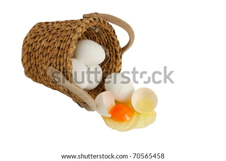 White eggs spilled from interwoven basket as concept of concentration risk - stock photo