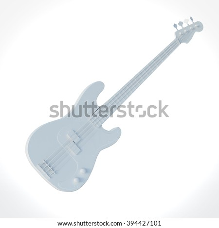 White electric bass guitar on white background 3D Render