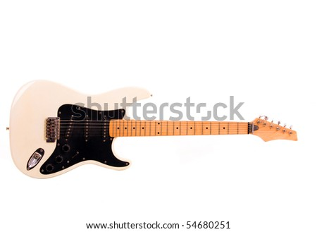 White electric guitar isolated on white banckground - stock photo