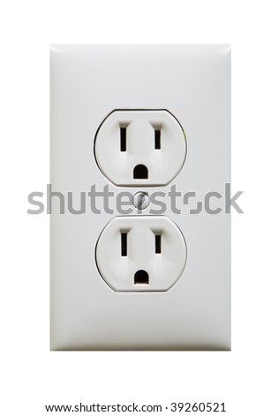white electric outlet isolated against white background - stock photo