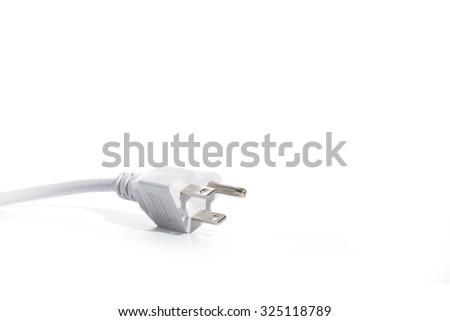 white  electric plug - stock photo