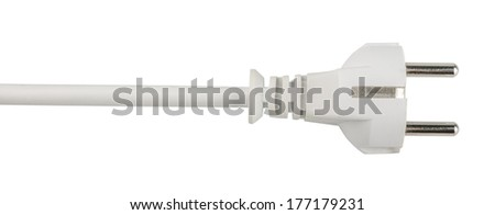 white electric plug cable isolated on white background  - stock photo