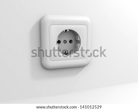 White electric socket at the wall. 3D illustration.