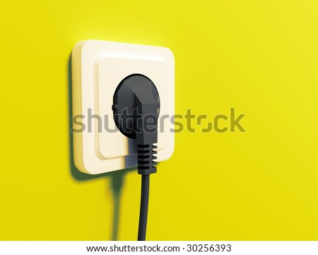 White electric socket on wall - stock photo