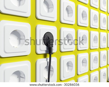 White electric sockets on wall - stock photo